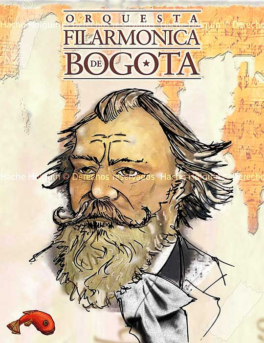Retrato de Johannes Brahms por Hache Holguín