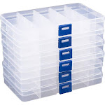Clear Jewelry Box - 6-Pack Plastic Bead Storage Container, Earrings Storage Organizer with Adjustable Dividers, 15 Compartments Each, 6.7 x 0.8 x 4