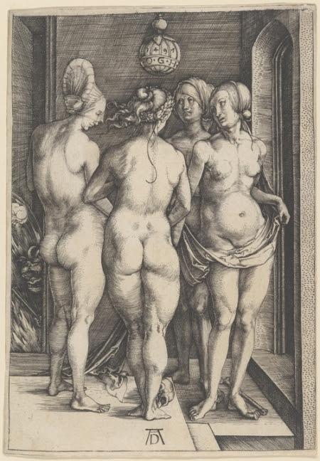 """Άλμπρεχτ Ντύρερ """"Τέσσερις Μάγισσες (ή Τέσσερις Γυμνές)"""", 1497"""