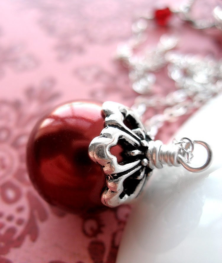 Red Glass Pearl Necklace with Sterling Silver Chain