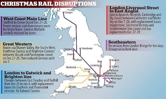 Christmas rail meltdown: Lines across Britain closed for two weeks