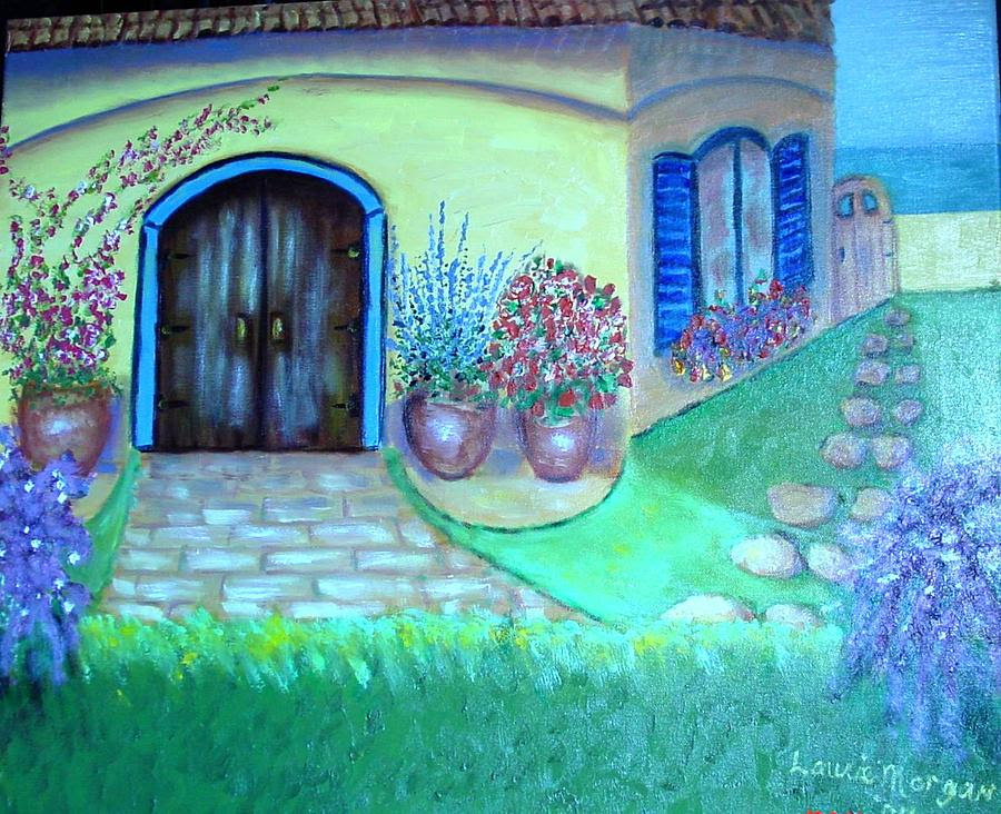 Yellow House With Blue Shutters Painting by Laurie Morgan - Yellow ...