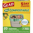 Glad 78797 OdorShield Compostable Bags, White, 2.6 Gallon