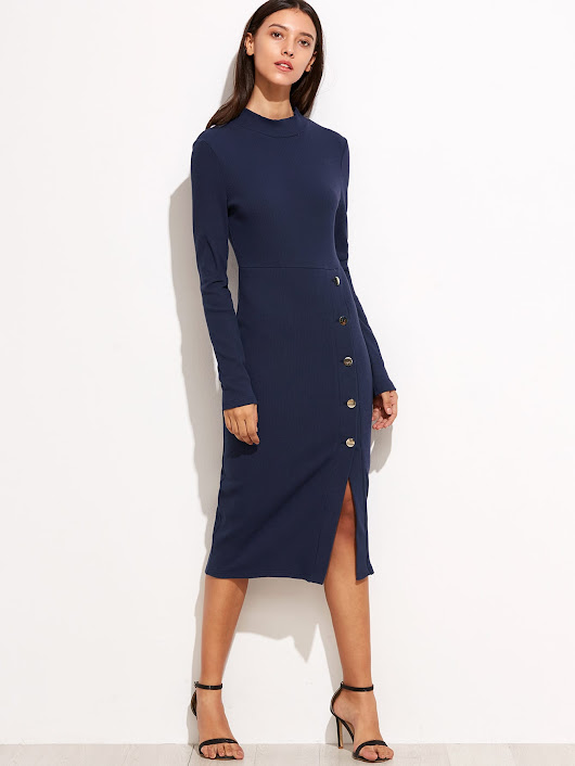 Navy Asymmetric Button Front Pencil Dress -SheIn(Sheinside)