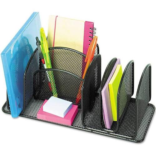 Safco Deluxe Desktop Organizer Black Steel Mesh 12 5 X 25 6 Compartments