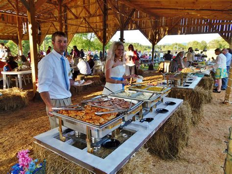 Wedding buffet in a country setting. the Bride and Groom