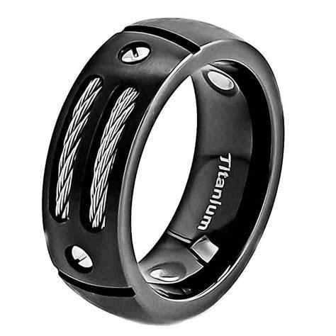 8mm Satin Titanium Ring Black Men's Wedding Band   eBay