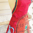 Beatrix Full Apron Red and Wine Themed Apron by ShellyisVintage