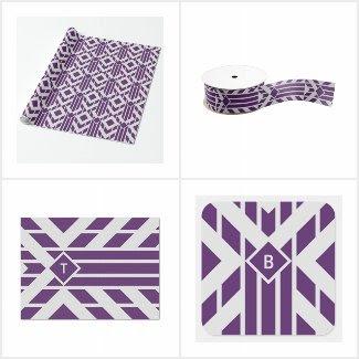 Purple Geometric Gift Wrap Supplies