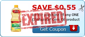 SAVE $0.55 on the purchase of any ONE (1) Mazola® Corn Oil product