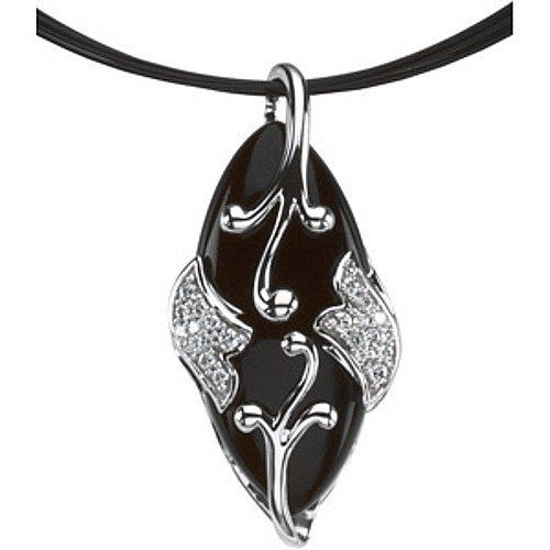 Women's #Fashion #Jewelry:  14K White Gold #Onyx and Diamond Pendant Necklace: #Pendants and #Necklaces