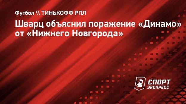 Шварц объяснил поражение «Динамо» от «Нижнего Новгорода»