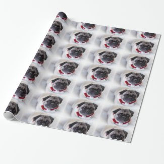 Christmas Pug in the Snow Wrapping Paper
