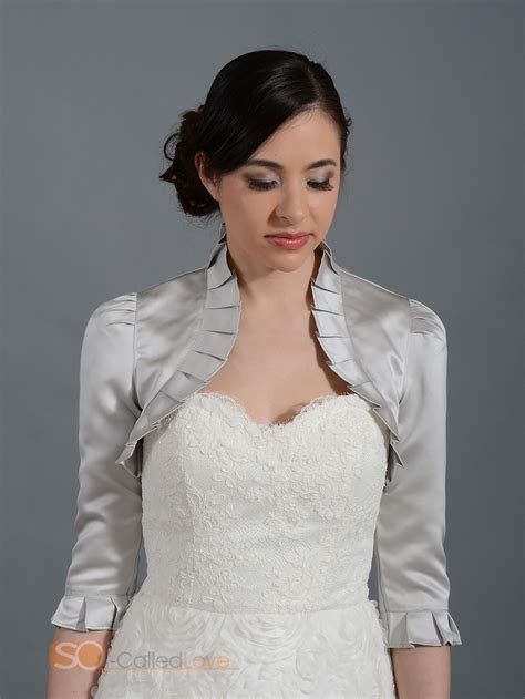 3/4 Sleeve Women Wedding Satin Bolero Shrug White Bridal