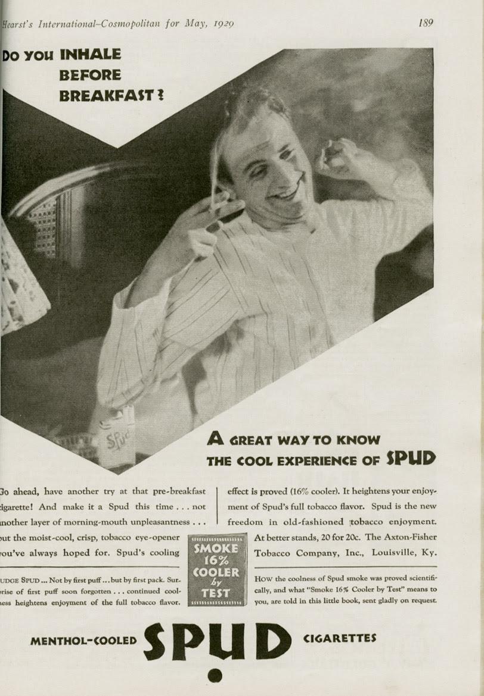 Spud cigarette ad_1929_tatteredandlost