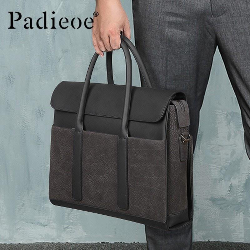 Hot Padieoe men bag briefcase leather computer bag messenger handbag purses jobs genuine leather
