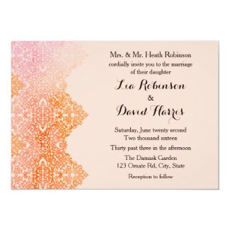 "Damask Border Wedding Invitation 5"" X 7"" Invitation Card"