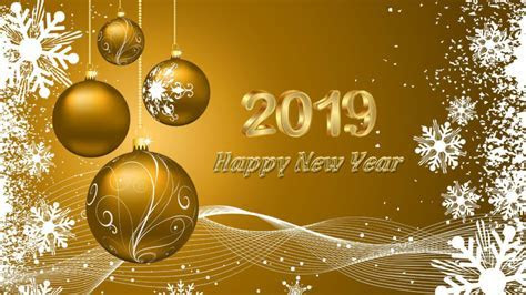 Happy New 2019 Year Wishes Gold Greeting Card & Quotes 4k