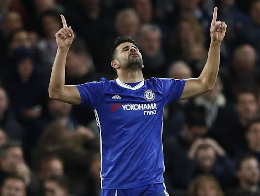 Diego Costa heads home 50th Premier League goal