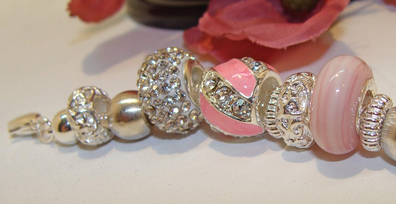 Pandora Style Pink & Crystal Bracelet