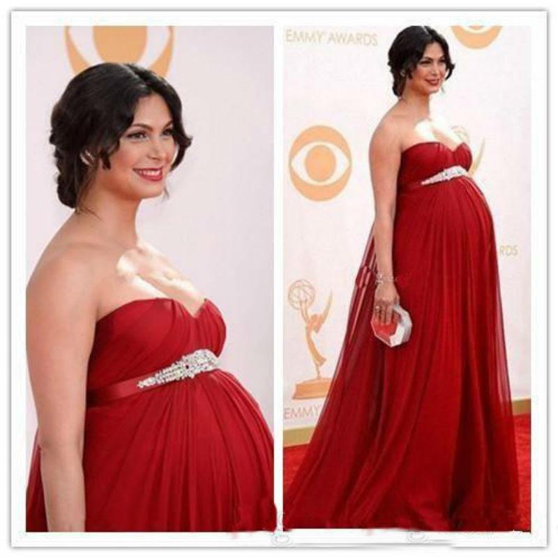 Red maternity evening dress