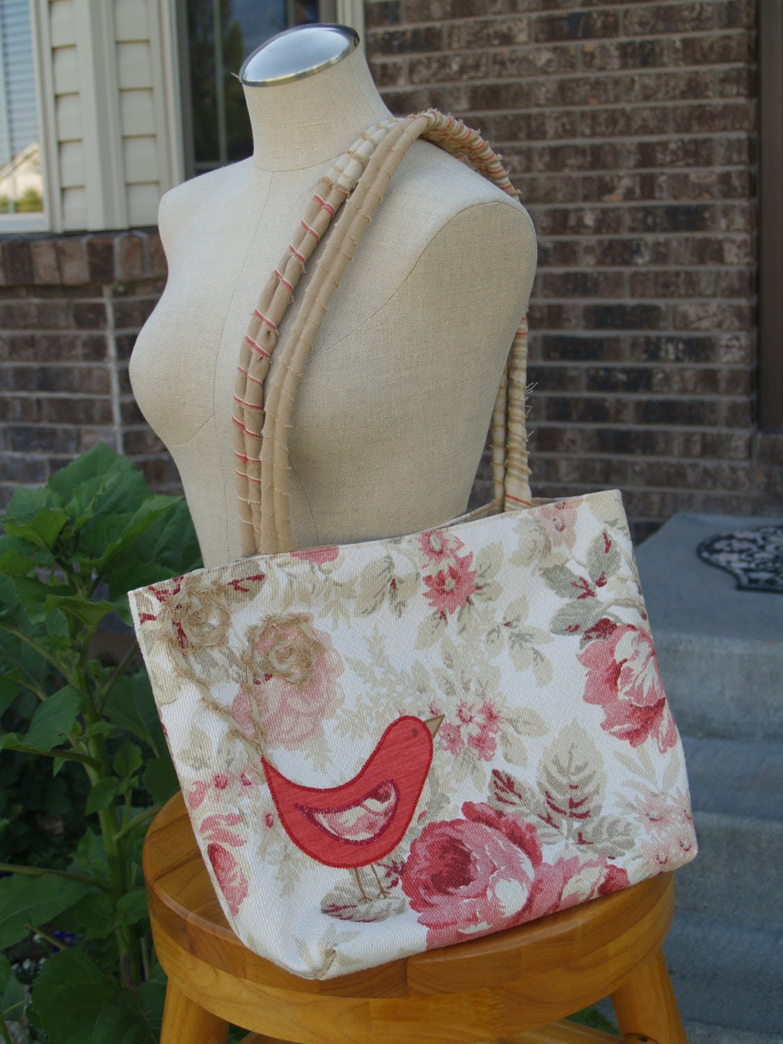 Hand Made Large Pink and White Floral Purse with Appliqued Bird