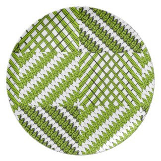 Leaves and Grass Design on Melamine Plate