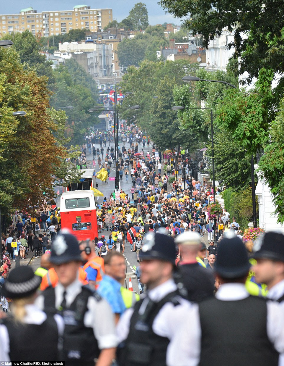 Police have been very visible on the opening day of the Notting Hill Carnival following terror attacks in other parts of Europe