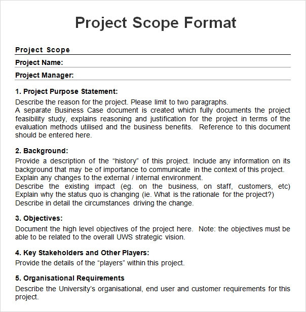 Project Scope Sample Format