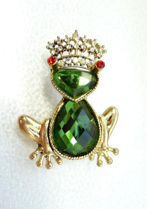 Vintage Frog Brooch-Rhinestone Frog w/ Crown from The Jewel Seeker on Etsy