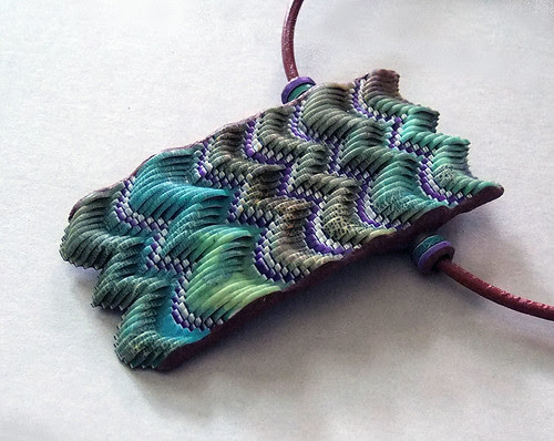 """""""puffy"""" flamestitch pendant in turquoise and green"""