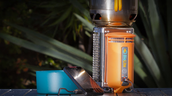 Biolite CampStove charging a cell phone