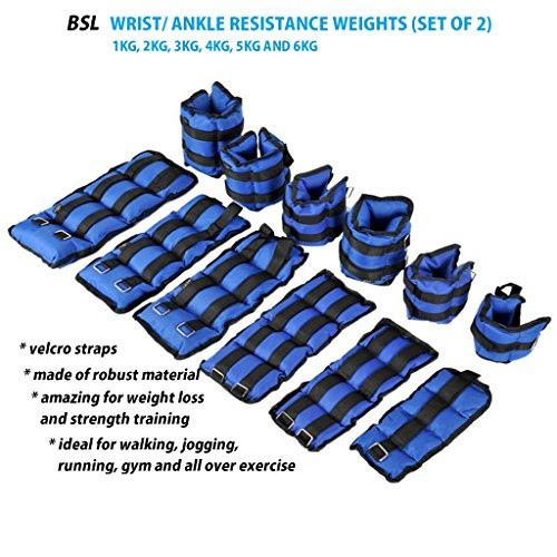 Adjustable Ankle Wrist Weight Strength Training Exercise Gym 1 2 3 4 5 6 KG Blue (1 KG = 2 x 0.5 KG)