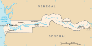 The Gambia River in its lower reaches flowing ...