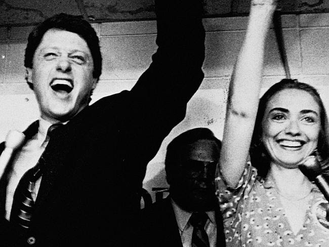 The early days ... former Arkansas Governor Bill Clinton and his wife Hillary celebrate h