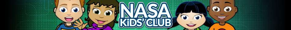 Un grupo de jóvenes, personajes de dibujos animados sobre un fondo colorido con las palabras NASA Club para Niños