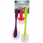 Handy Housewares 3 Piece Durable Dish Cleaning Scrubbing Brush Set - Multiple Brush Sizes