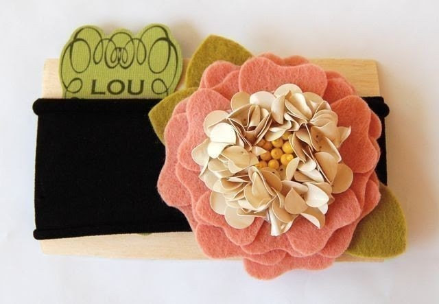 Autumn's bloom cream felt flower headband with wool felt