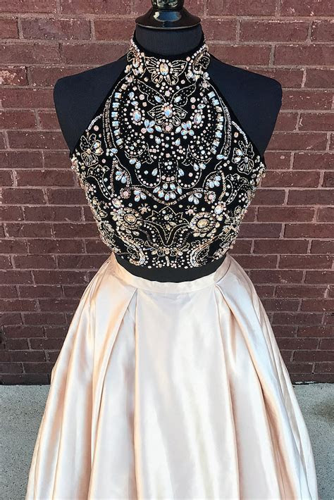 Two Piece Beads Black and Champagne Long Prom Dress with