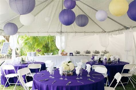 purple and yellow tent decor ideas but white tablecloths