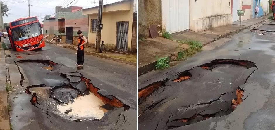 Asfalto aberto por chuvica revela que prefeitura não fiscaliza obras da Caema