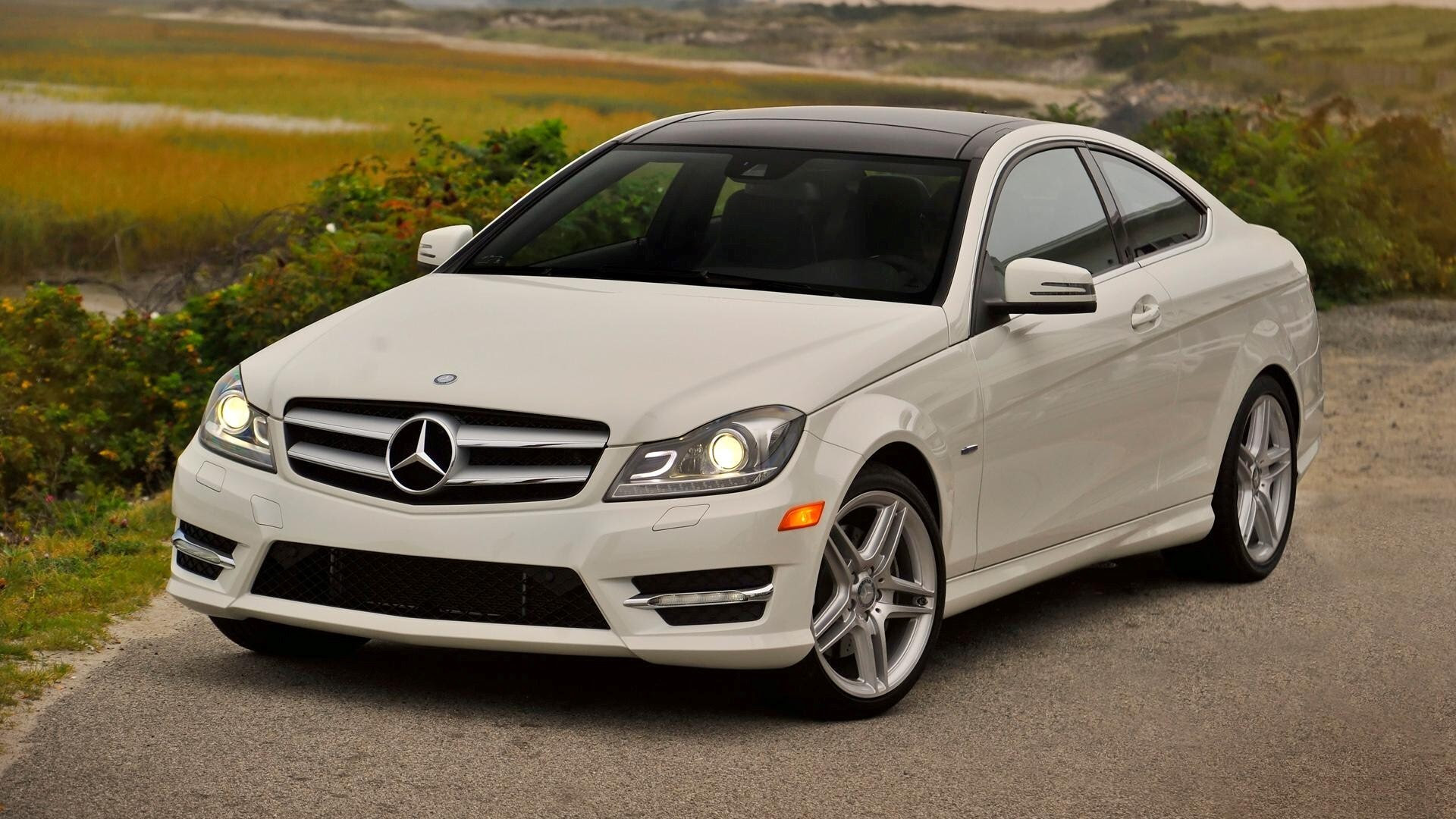 White Mercedes Benz C350 Coupe C Class Car Wallpaper HD Wallpapers