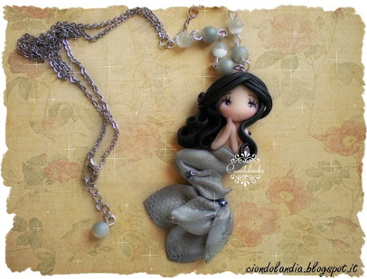 Dolphin Mermaid doll Polymer clay chibi necklace