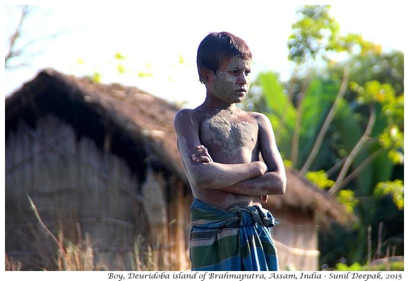 Boy on Brahmaputra's island, Assam, India - Images by Sunil Deepak