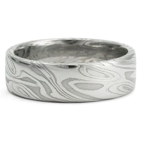 Damascus Mens Wedding Band Twisted Organic Wood Grain