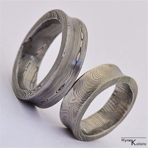 Concave Wedding Ring, Hand forged damascus steel wedding