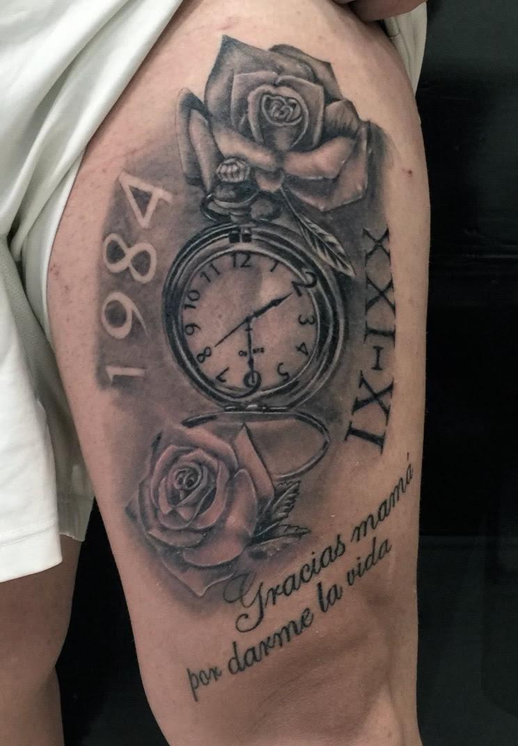 Reloj Con Rosas Y Lettering Tatuajes Online