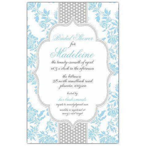 Fancy Light Blue Gray Dot Bridal Shower Invitations