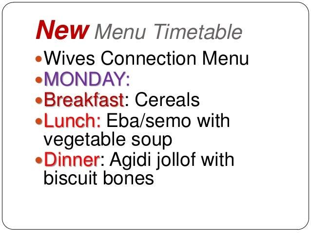 New menu timetable