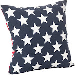Saro Lifestyle 015P.NB20S 20 in. Star & Striped Design Down Filled Cotton Throw Pillow Navy Blue